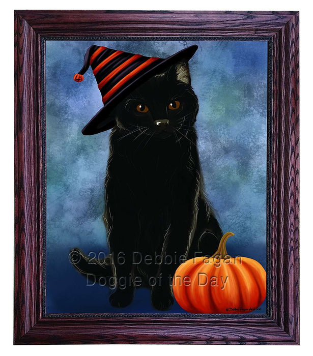 Happy Halloween Black Cat Wearing Witch Hat with Pumpkin Framed Canvas Print Wall Art