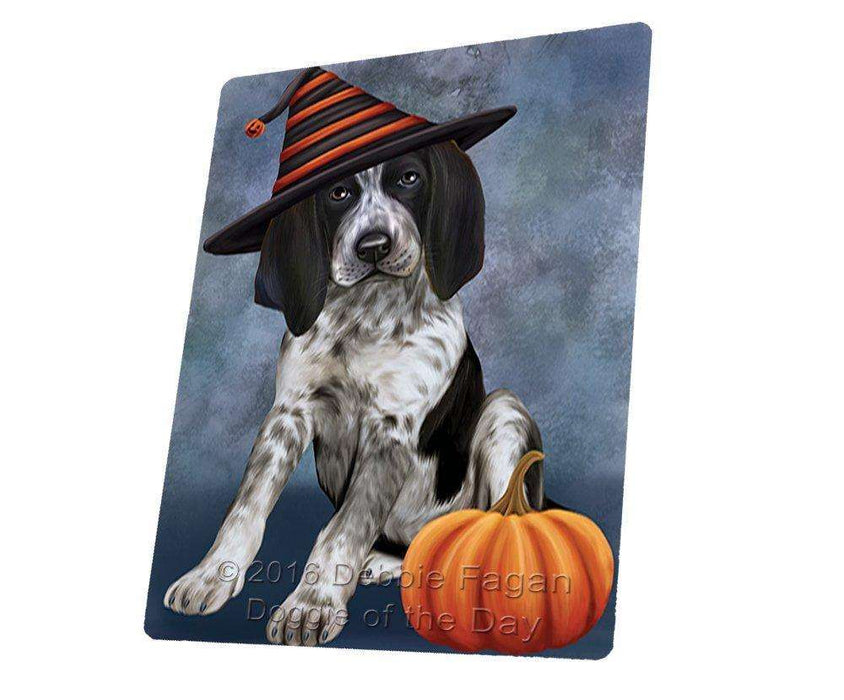 Happy Halloween Bluetick Coonhound Dog Wearing Witch Hat with Pumpkin Large Refrigerator / Dishwasher Magnet