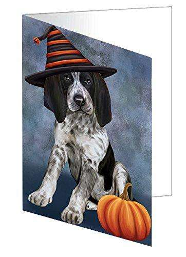 Happy Halloween Bluetick Coonhound Dog Wearing Witch Hat with Pumpkin Note Card