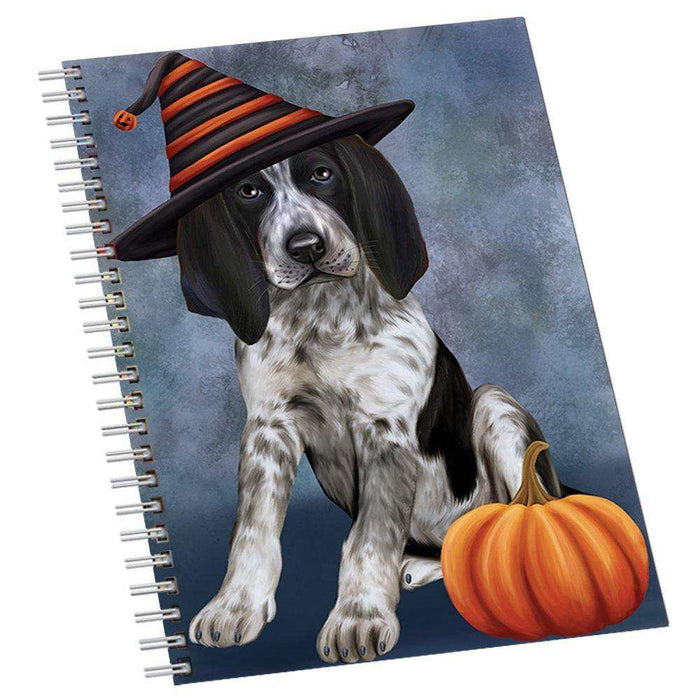 Happy Halloween Bluetick Coonhound Dog Wearing Witch Hat with Pumpkin Notebook