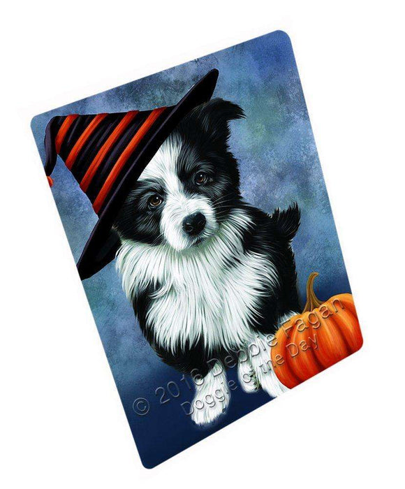 Happy Halloween Border Collie Dog Wearing Witch Hat with Pumpkin Art Portrait Print Woven Throw Sherpa Plush Fleece Blanket