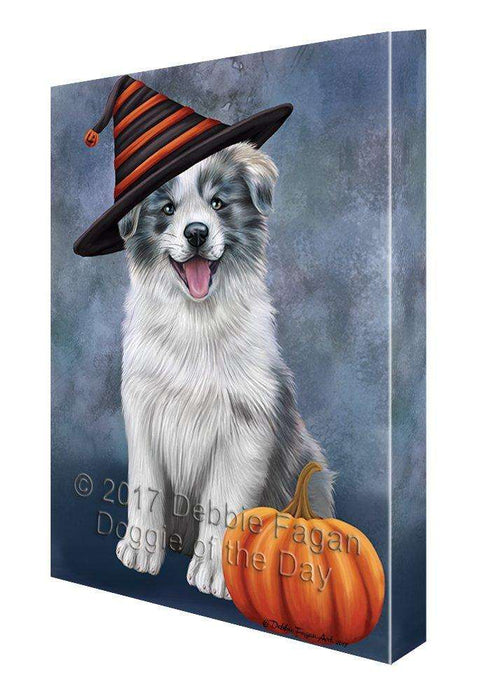 Happy Halloween Border Collie Dog Wearing Witch Hat with Pumpkin Canvas Wall Art