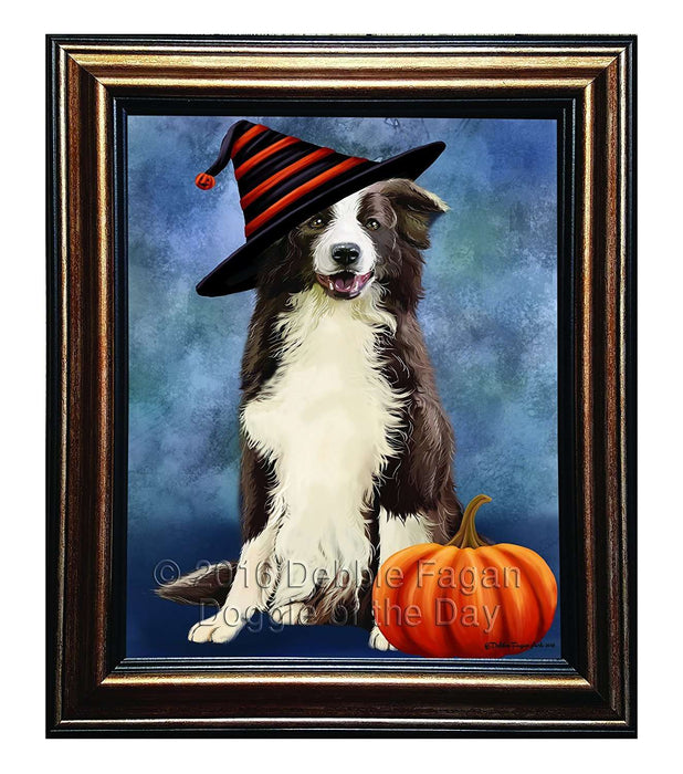 Happy Halloween Border Collie Dog Wearing Witch Hat with Pumpkin Framed Canvas Print Wall Art