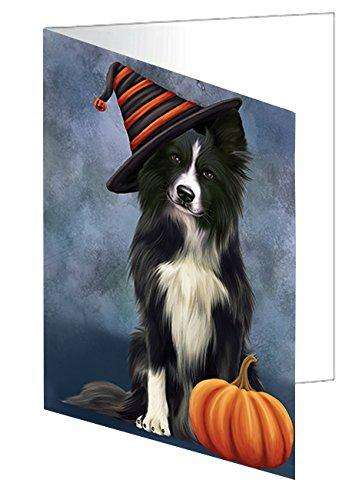 Happy Halloween Border Collie Dog Wearing Witch Hat with Pumpkin Greeting Card D005