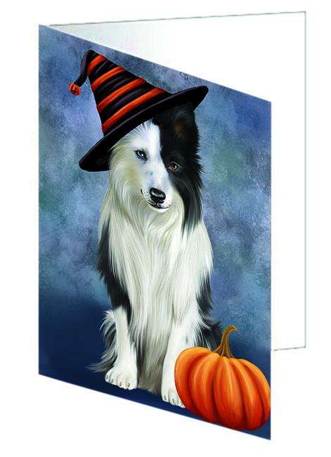 Happy Halloween Border Collie Dog Wearing Witch Hat with Pumpkin Greeting Card GCD68681
