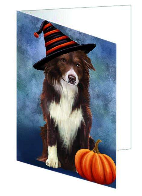 Happy Halloween Border Collie Dog Wearing Witch Hat with Pumpkin Greeting Card GCD68684