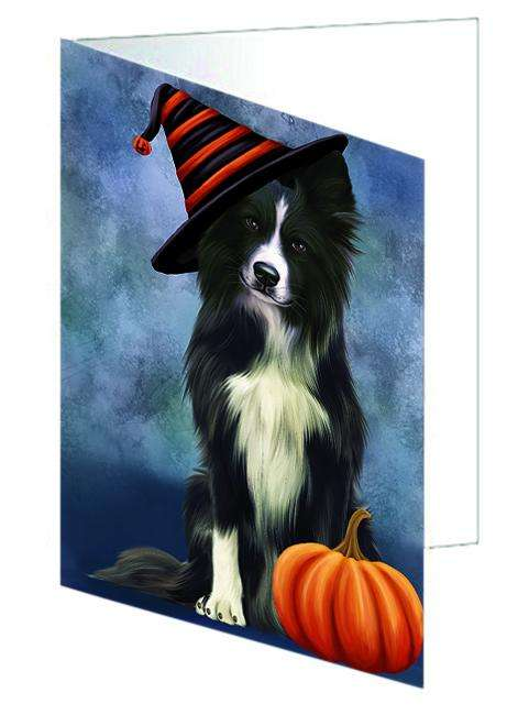 Happy Halloween Border Collie Dog Wearing Witch Hat with Pumpkin Greeting Card GCD68687