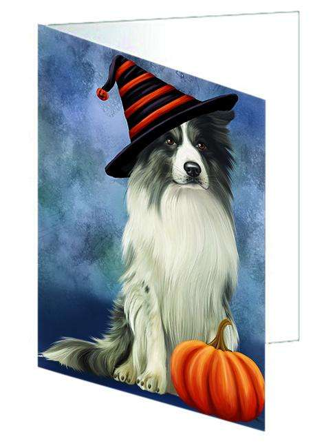 Happy Halloween Border Collie Dog Wearing Witch Hat with Pumpkin Greeting Card GCD68690