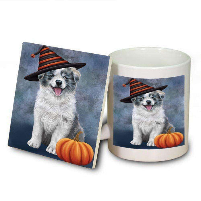 Happy Halloween Border Collie Dog Wearing Witch Hat with Pumpkin Mug and Coaster Set
