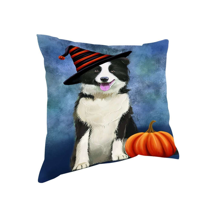 Happy Halloween Border Collie Dog Wearing Witch Hat with Pumpkin Throw Pillow