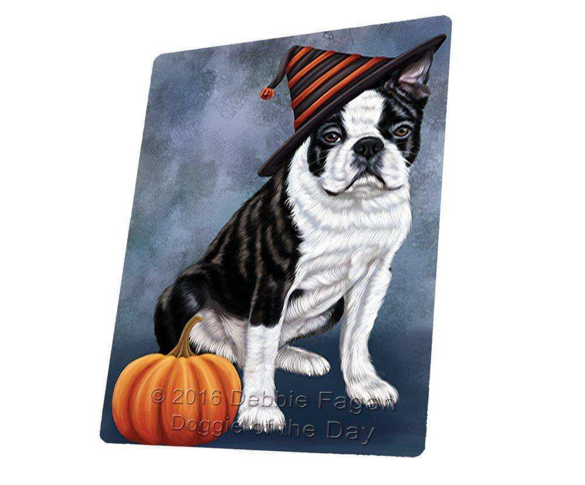 Happy Halloween Boston Terriers Dog Wearing Witch Hat with Pumpkin Art Portrait Print Woven Throw Sherpa Plush Fleece Blanket