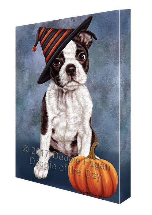 Happy Halloween Boston Terriers Dog Wearing Witch Hat with Pumpkin Canvas Wall Art