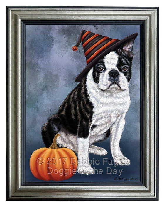 Happy Halloween Boston Terriers Dog Wearing Witch Hat with Pumpkin Framed Canvas Print Wall Art