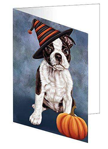 Happy Halloween Boston Terriers Dog Wearing Witch Hat with Pumpkin Greeting Card