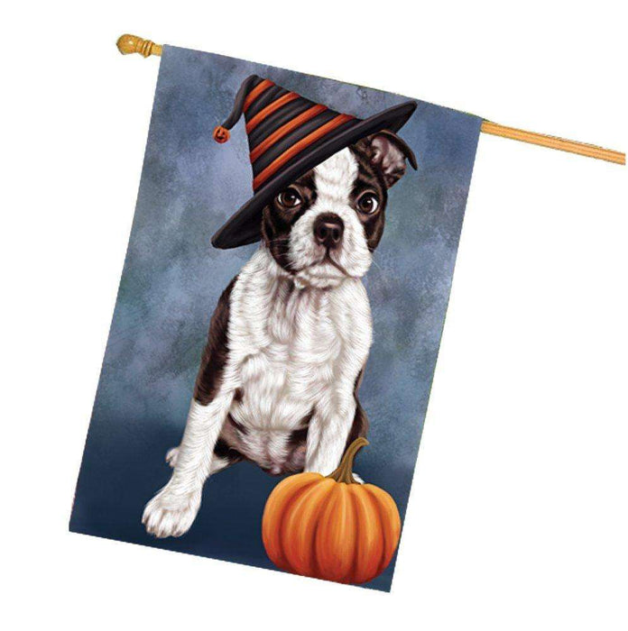 Happy Halloween Boston Terriers Dog Wearing Witch Hat with Pumpkin House Flag