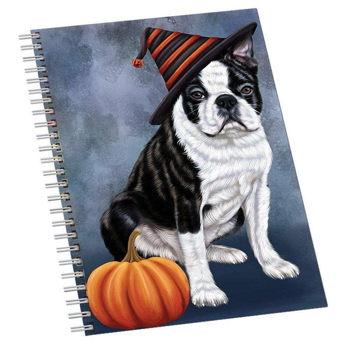 Happy Halloween Boston Terriers Dog Wearing Witch Hat with Pumpkin Notebook