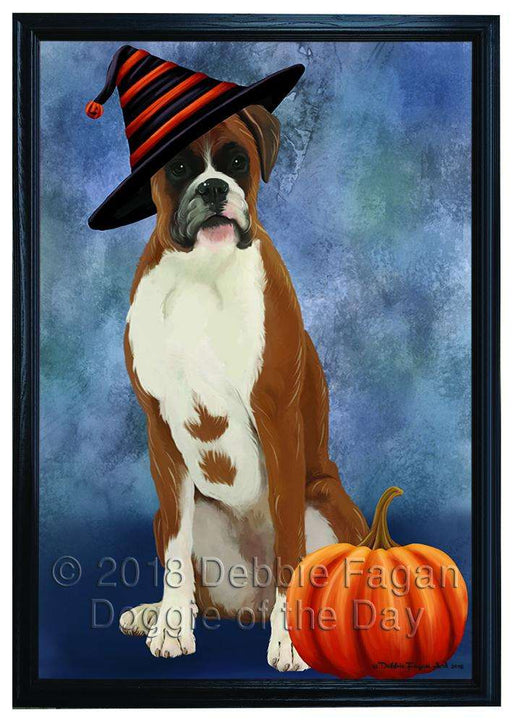 Happy Halloween Boxer Dog Wearing Witch Hat with Pumpkin Framed Canvas Print Wall Art FCVS167085
