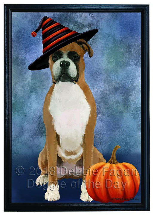 Happy Halloween Boxer Dog Wearing Witch Hat with Pumpkin Framed Canvas Print Wall Art FCVS167102