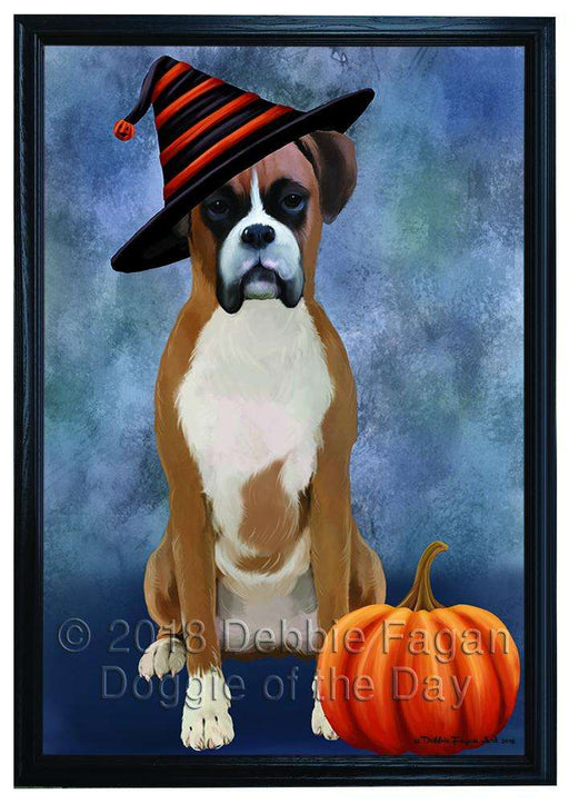 Happy Halloween Boxer Dog Wearing Witch Hat with Pumpkin Framed Canvas Print Wall Art FCVS167119