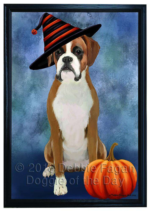 Happy Halloween Boxer Dog Wearing Witch Hat with Pumpkin Framed Canvas Print Wall Art FCVS167136