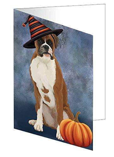 Happy Halloween Boxer Dog Wearing Witch Hat with Pumpkin Greeting Card D464