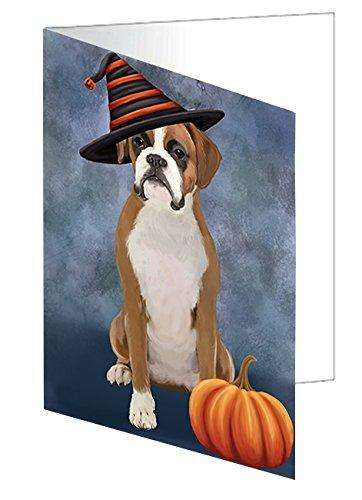Happy Halloween Boxer Dog Wearing Witch Hat with Pumpkin Greeting Card D467