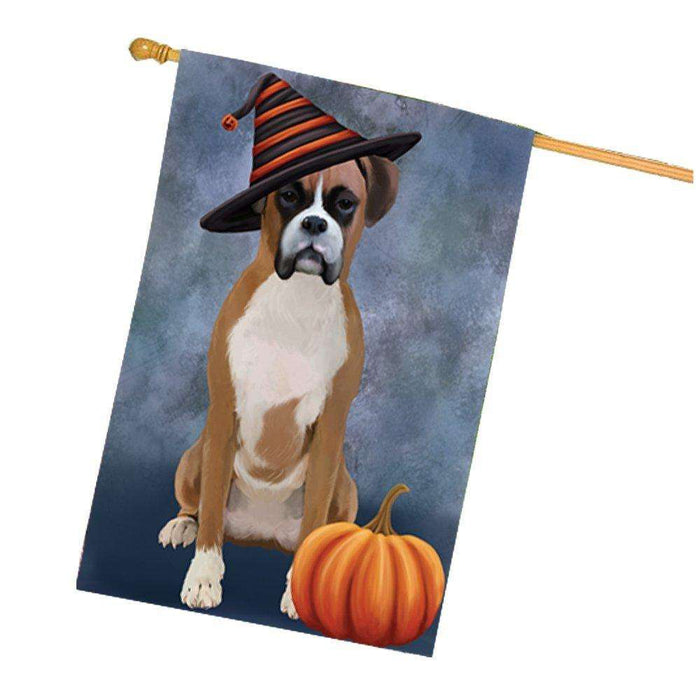 Happy Halloween Boxer Dog Wearing Witch Hat with Pumpkin House Flag