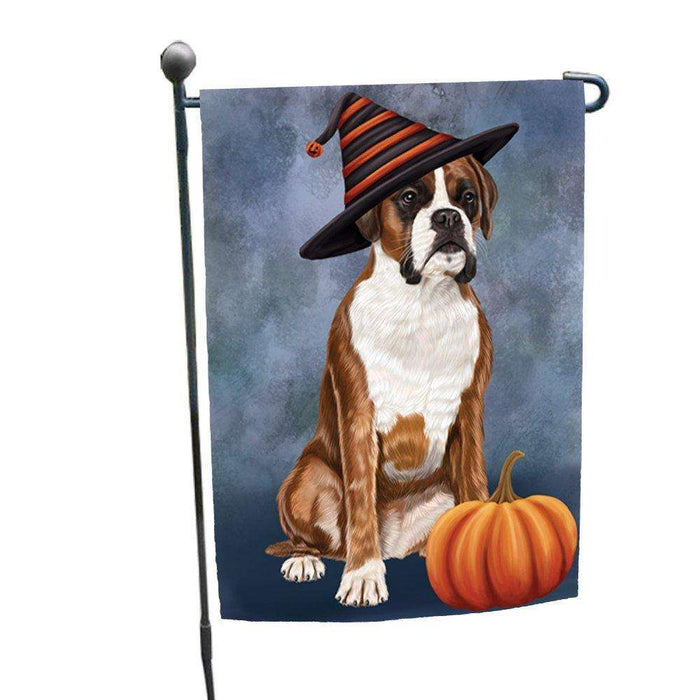 Happy Halloween Boxers Dog Wearing Witch Hat with Pumpkin Garden Flag