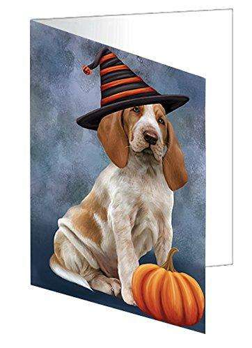 Happy Halloween Bracco Italiano Dog Wearing Witch Hat with Pumpkin Greeting Card
