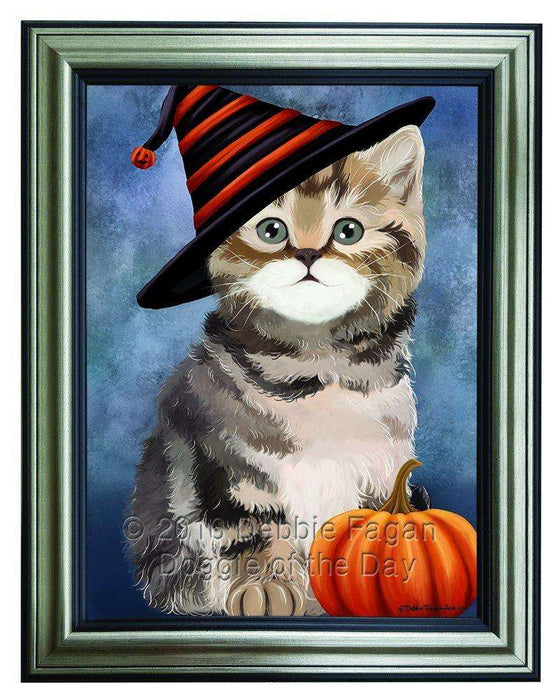 Happy Halloween British Shorthair Cat Wearing Witch Hat with Pumpkin Framed Canvas Print Wall Art