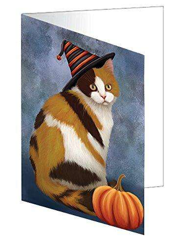 Happy Halloween British Shorthair Cat Wearing Witch Hat with Pumpkin Greeting Card