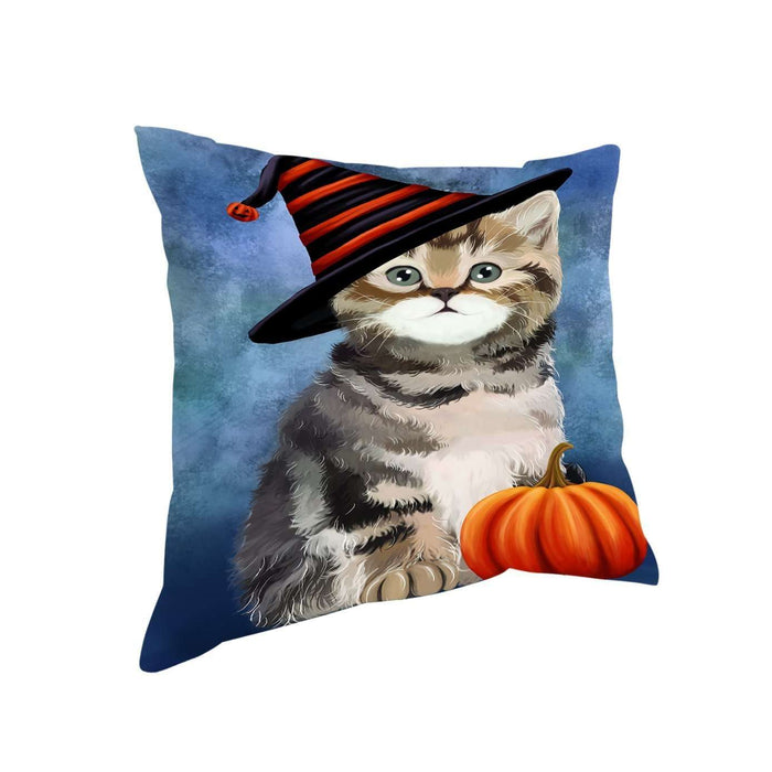 Happy Halloween British Shorthair Cat Wearing Witch Hat with Pumpkin Throw Pillow