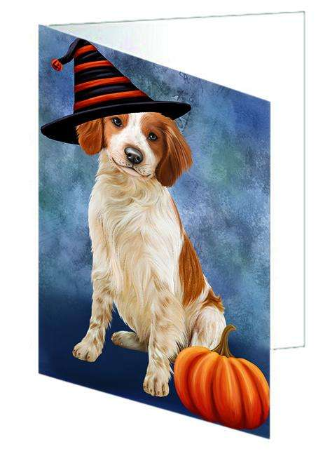 Happy Halloween Brittany Spaniel Dog Wearing Witch Hat with Pumpkin Greeting Card GCD68792