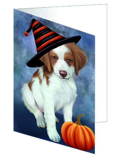 Happy Halloween Brittany Spaniel Dog Wearing Witch Hat with Pumpkin Greeting Card GCD68795