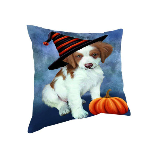 Happy Halloween Brittany Spaniel Dog Wearing Witch Hat with Pumpkin Pillow PIL76312
