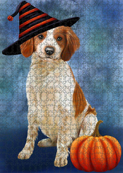 Happy Halloween Brittany Spaniel Dog Wearing Witch Hat with Pumpkin Puzzle with Photo Tin PUZL87116