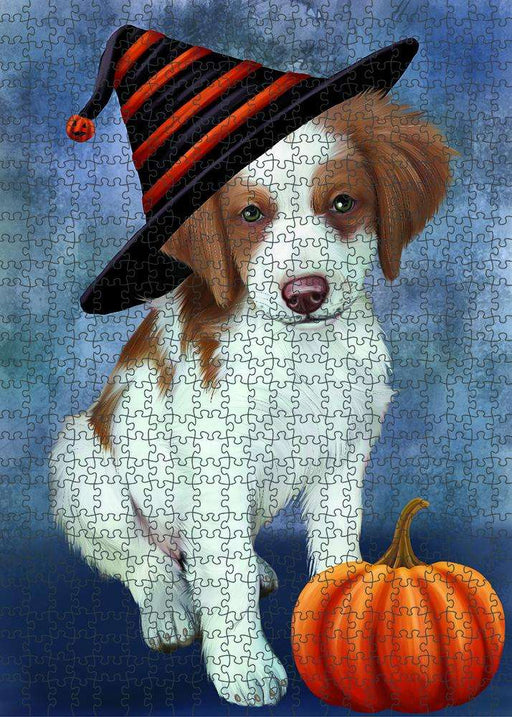 Happy Halloween Brittany Spaniel Dog Wearing Witch Hat with Pumpkin Puzzle with Photo Tin PUZL87120
