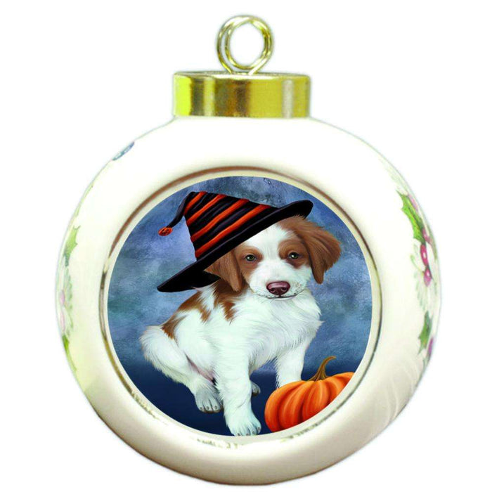 Happy Halloween Brittany Spaniel Dog Wearing Witch Hat with Pumpkin Round Ball Christmas Ornament RBPOR55050