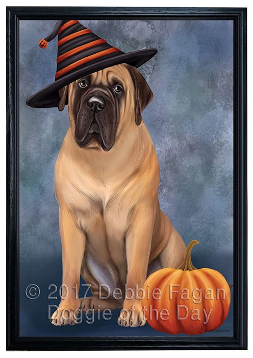 Happy Halloween Bull Mastiff Dog Wearing Witch Hat with Pumpkin Framed Canvas Print Wall Art