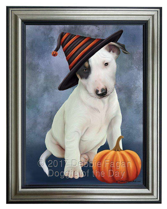 Happy Halloween Bull Terrier Dog Wearing Witch Hat with Pumpkin Framed Canvas Print Wall Art