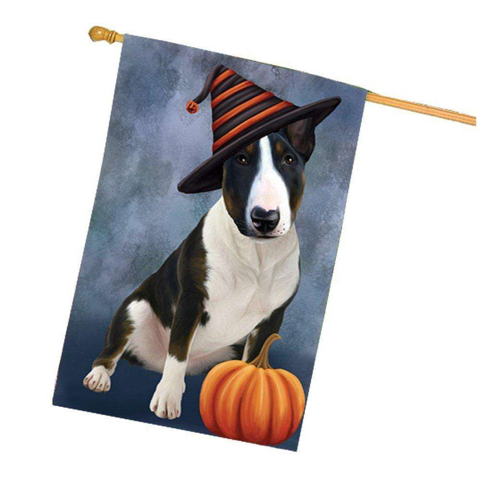 Happy Halloween Bull Terrier Dog Wearing Witch Hat with Pumpkin House Flag