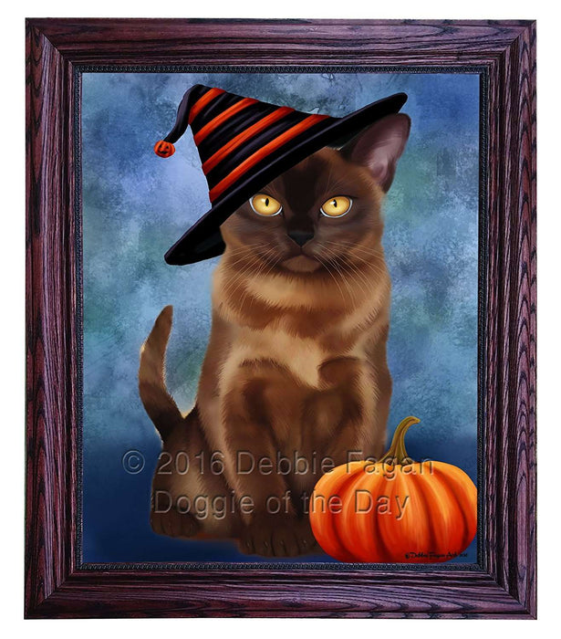 Happy Halloween Burmese Cat Wearing Witch Hat with Pumpkin Framed Canvas Print Wall Art
