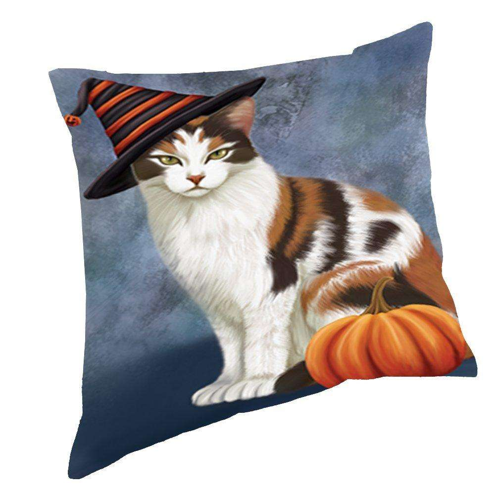 Happy Halloween Calico Cat Wearing Witch Hat with Pumpkin Throw Pillow