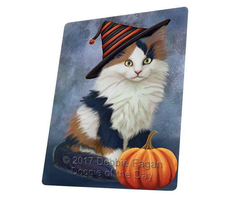 Happy Halloween Calico Kitten Cat Wearing Witch Hat with Pumpkin Art Portrait Print Woven Throw Sherpa Plush Fleece Blanket