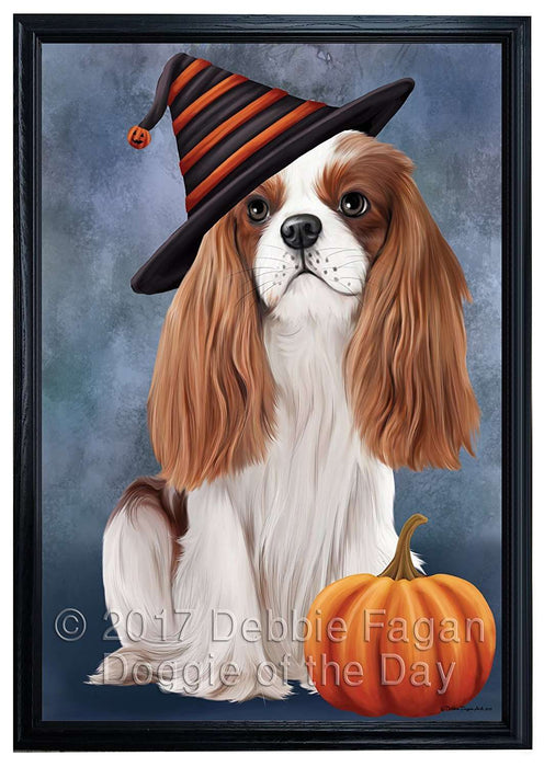 Happy Halloween Cavalier King Charles Spaniel Dog Wearing Witch Hat with Pumpkin Framed Canvas Print Wall Art