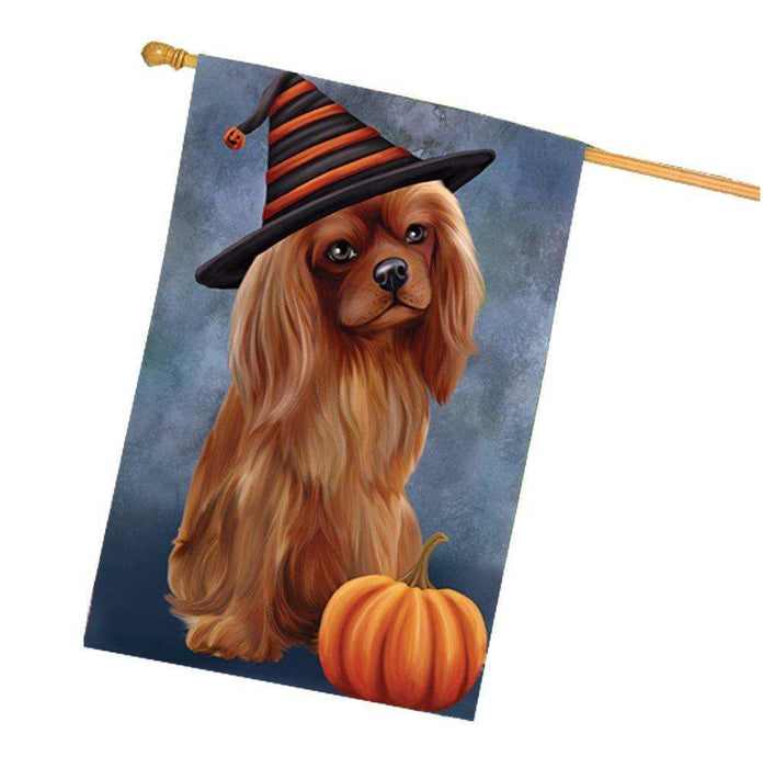 Happy Halloween Cavalier King Charles Spaniel Dog Wearing Witch Hat with Pumpkin House Flag