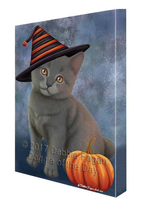 Happy Halloween Chartreux Kitten Cat Wearing Witch Hat with Pumpkin Canvas Wall Art