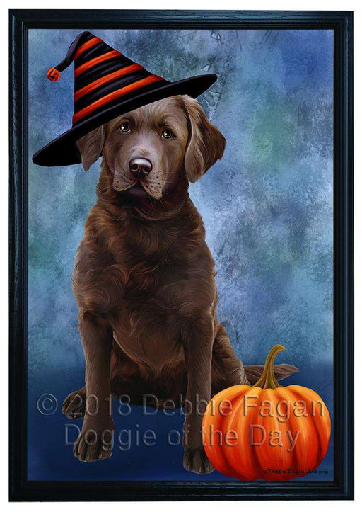 Happy Halloween Chesapeake Bay Retriever Dog Wearing Witch Hat with Pumpkin Framed Canvas Print Wall Art FCVS166864