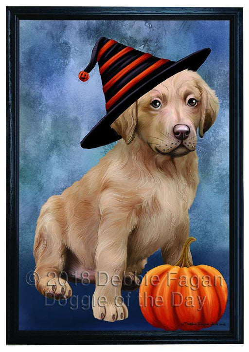 Happy Halloween Chesapeake Bay Retriever Dog Wearing Witch Hat with Pumpkin Framed Canvas Print Wall Art FCVS166881
