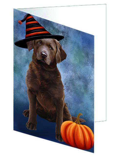 Happy Halloween Chesapeake Bay Retriever Dog Wearing Witch Hat with Pumpkin Greeting Card GCD68798